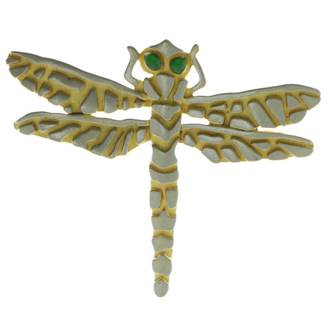 Dragonfly Brooch-Pin Gold-Tone & Silver-Tone Colored #LQP637