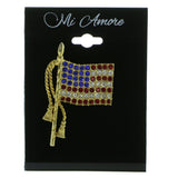 American Flag Patriotic Brooch-Pin With Crystal Accents Gold-Tone & Multi Colored #LQP643