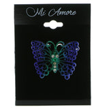Butterfly Brooch-Pin With Crystal Accents Blue & Green Colored #LQP654