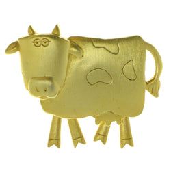 Cow Moveable Brooch-Pin Gold-Tone Color  #LQP670