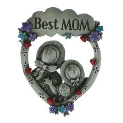 Best Mom Brooch-Pin Silver-Tone & Multi Colored #LQP676