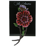 Flower Brooch-Pin With Crystal Accents Black & Multi Colored #LQP693