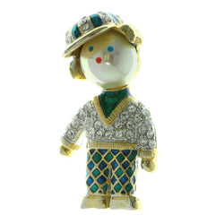 Little Boy Brooch-Pin With Crystal Accents Gold-Tone & Multi Colored #LQP801