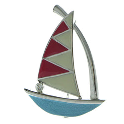 Sailboat Brooch-Pin Silver-Tone & Multi Colored #LQP810