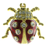 Ladybug Brooch-Pin With Crystal Accents Gold-Tone & Red Colored #LQP903
