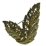 Leaf Brooch-Pin With Crystal Accents Gold-Tone & Yellow Colored #LQP906
