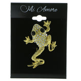 Frog Brooch-Pin With Crystal Accents  Gold-Tone Color #LQP910