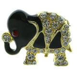 Elephants Brooch-Pin With Crystal Accents Gold-Tone & Black Colored #LQP912