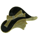 Woman's Profile Hat Brooch-Pin With Crystal Accents Gold-Tone & Black Colored #LQP913