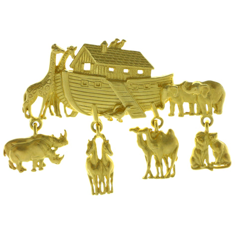 Noah's Ark Brooch-Pin With Drop Accents  Gold-Tone Color #LQP940