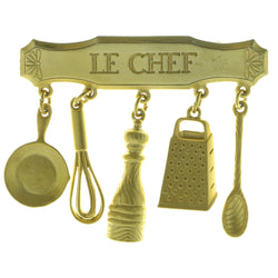Le Chef Cooking Charms Brooch-Pin  With Drop Accents Gold-Tone Color #LQP957