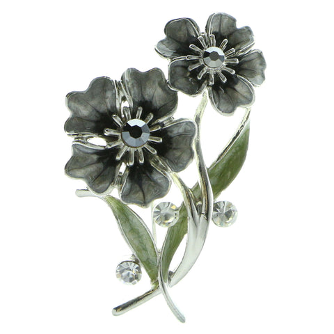 Flowers Brooch-Pin With Crystal Accents Silver-Tone & Gray Colored #LQP958