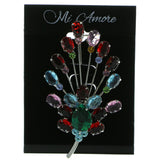 Silver-Tone & Multi Colored Metal Brooch-Pin With Crystal Accents #LQP964