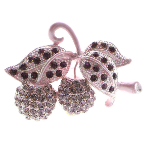Cherries Brooch-Pin With Crystal Accents  Pink Color #LQP967
