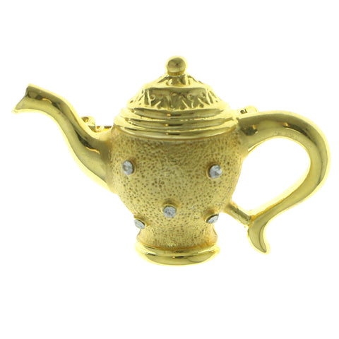Tea Pot Brooch-Pin With Crystal Accents  Gold-Tone Color #LQP976