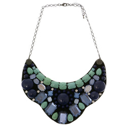 Adjustable Length Bib-Necklace With Crystal Accents  Colorful #3282