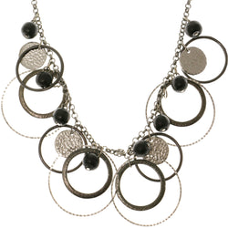 Adjustable Length Statement-Necklace Black & Silver-Tone Colored #3275