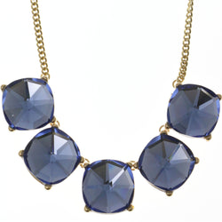 Adjustable Length Statement-Necklace With Faceted Accents Blue & Gold-Tone Colored #3272