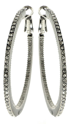 Silver-Tone Hoop Earrings With Rhinestone Accents For Women LTDE3