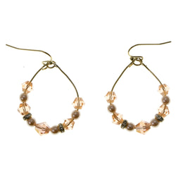 Gold-Tone Drop Dangle Earrings With Beaded Accents LTDE4