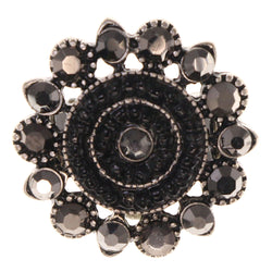 Flower Stretch-Ring With Crystal Accents Silver-Tone & Black Colored #4600