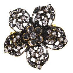 Flower Antique Stretch-Ring With Crystal Accents Gold-Tone & Black Colored #4493