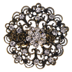 Filigree Stretch-Ring With Crystal Accents Gold-Tone & Silver-Tone Colored #4559