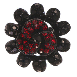 Flower Stretch-Ring With Crystal Accents Black & Red Colored #4533