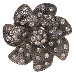 Flower Stretch-Ring With Crystal Accents Silver-Tone & Black Colored #4511