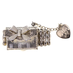 Purse Bow Heart Stretch-Ring With tassel Accents Silver-Tone & White Colored #4634