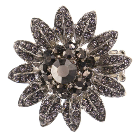 Flower Stretch-Ring With Crystal Accents Silver-Tone & Black Colored #4626
