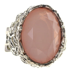 Pink & Silver-Tone Colored Metal Stretch-Ring With Bead Accents #4497