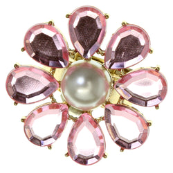 Flower Stretch-Ring With Crystal Accents Pink & White Colored #4551