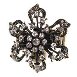 Flower Stretch-Ring With Crystal Accents Gold-Tone & Silver-Tone Colored #4536