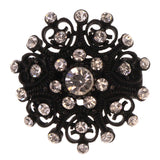 Matte Finish Stretch-Ring With Crystal Accents Black & Silver-Tone Colored #4480