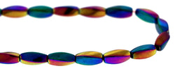 5X12mm Magnetic Hematite Rainbow Twist Mh36 - Mi Amore