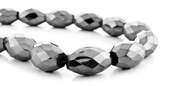 8X12mm Magnetic Hematite Faceted Rice MH70