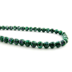 6mm Magnetic Marble Round Green/White MM08