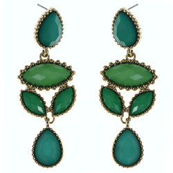 Faceted Teardrop Drop-Dangle-Earrings With Bead Accents Green & Gold-Tone Colored #MQE031