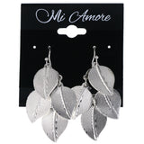 Leaf Chandelier-Earrings Silver-Tone Color  #MQE050