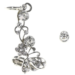 Butterfly Flower Clip-On Ear Cuff Stud-Earrings With Crystal Accents Silver-Tone Color #MQE053