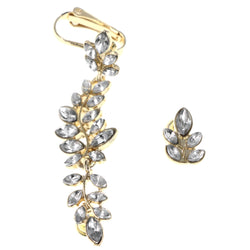 Leaf Ivy Clip-On Ear Cuff Stud-Earrings With Crystal Accents Gold-Tone & Silver-Tone Colored #MQE054