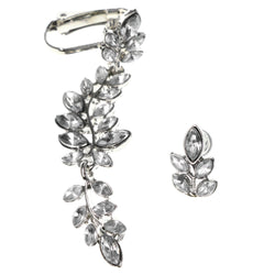 Leaf Ivy Clip-On Ear Cuff Stud-Earrings With Crystal Accents Silver-Tone Color #MQE055