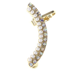 AB Finish Ear-Cuff With Crystal Accents Gold-Tone & Silver-Tone Colored #MQE059