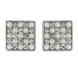 Silver-Tone & White Colored Metal Stud-Earrings With Crystal Accents #MQE080