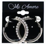 Silver-Tone & White Colored Metal Hoop-Earrings With Bead Accents #MQE081