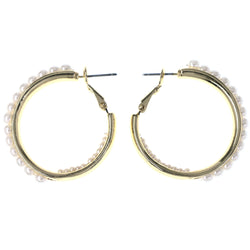 Gold-Tone & White Colored Metal Hoop-Earrings With Bead Accents #MQE082