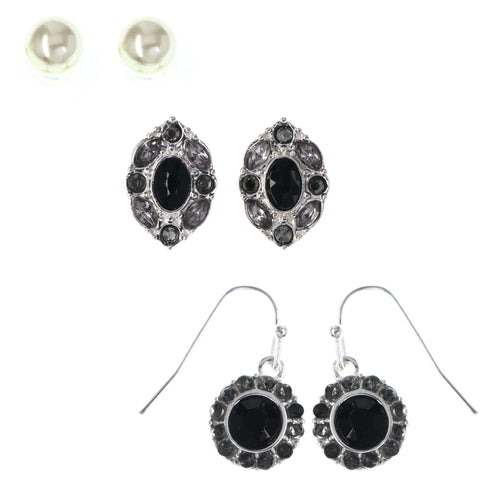Earring Set Stud-Earrings With Crystal Accents Silver-Tone & Black Colored #MQE083
