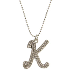 Initial K Adjustable Length Pendant-Necklace  With Crystal Accents Silver-Tone Color #3266