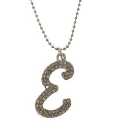 Initial E Adjustable Length Pendant-Necklace  With Crystal Accents Silver-Tone Color #3268